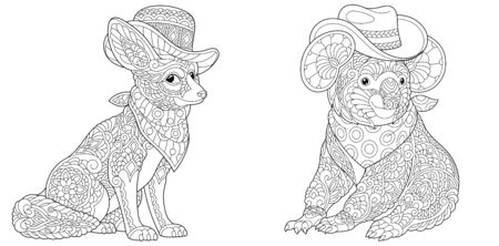 Animal coloring pages. Fashionable fennec fox and koala bear in hats. Line art design for adult or kids colouring book in zentangle style. Vector illustration.  Stock Illustratie
