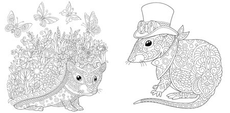 Coloring book. Hedgehog with flowers and butterflies. Mouse in steampunk clothes. Line art design for adult or kids colouring page in zentangle style. Vector illustration.  Stock Illustratie