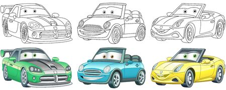 Cartoon cars. Coloring pages for kids. Colorful clipart characters. Childish designs for t shirt print, icon, label, patch or sticker. Vector illustration.