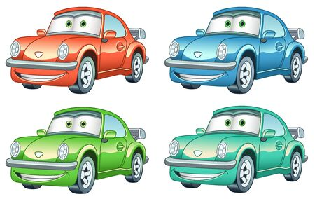 Cartoon retro old cars. Colorful clipart characters. Childish designs for t shirt print, icon, label, patch or sticker. Vector illustration.