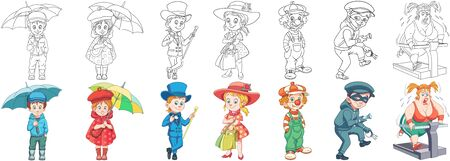 Coloring pages. Cartoon characters. Clipart set for kids activity coloring book, t shirt print, icon, logo, label, patch or sticker. Vector illustration.