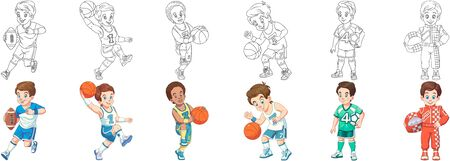 Coloring pages. Sport children. Cartoon clipart set for kids activity coloring book, t shirt print, icon, logo, label, patch or sticker. Vector illustration. Stock Illustratie