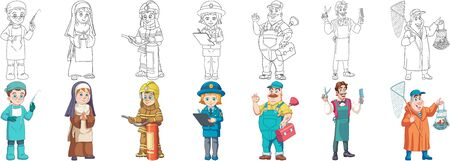 Coloring pages. Workers. Cartoon clipart set for kids activity coloring book, t shirt print, icon, logo, label, patch or sticker. Vector illustration.