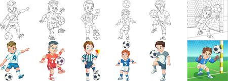 Coloring pages. Cartoon sports. Clipart set for kids activity coloring book, t shirt print, icon, logo, label, patch or sticker. Vector illustration. Stock Illustratie