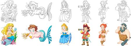 Coloring pages. Cartoon children. Clipart set for kids activity coloring book, t shirt print, icon, logo, label, patch or sticker. Vector illustration. Stock Illustratie