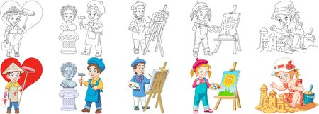 Coloring pages. Cartoon children. Cute designs for kids activity coloring book, t shirt print, icon, logo, label, patch or sticker. Vector illustration. Stock Illustratie