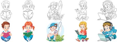 Coloring pages. Cartoon kids. Clipart set for activity coloring book, t shirt print, icon, logo, label, patch or sticker. Vector illustration.