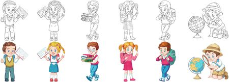 Coloring pages. School children. Cartoon clipart set for kids activity coloring book, t shirt print, icon, logo, label, patch or sticker. Vector illustration. Stock Illustratie