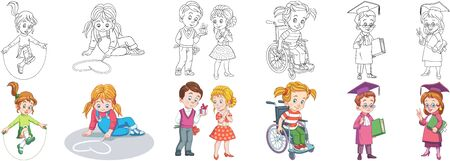 Coloring pages. School kids. Cartoon clipart set for activity coloring book, t shirt print, icon, logo, label, patch or sticker. Vector illustration. Stock Illustratie