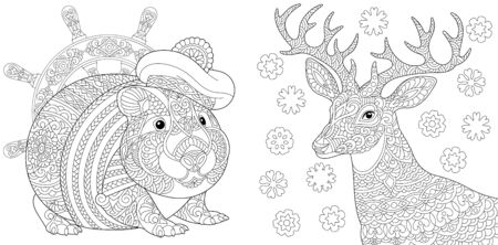 Coloring pages. Cute seaman hamster and Christmas reindeer. Line art design for adult colouring book with doodle and elements. Vector illustration.