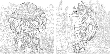 Coloring pages. Underwater landscape with jellyfish and seahorse. Line art design for adult colouring book with doodle and elements. Vector illustration. Stock Illustratie
