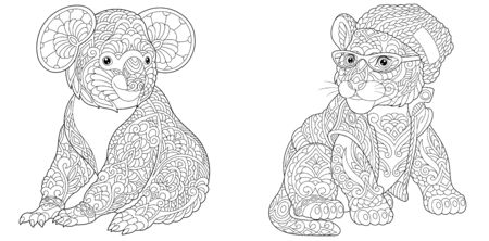 Coloring pages. Koala bear and tiger in hipster clothes. Line art design for adult colouring book with doodle and elements. Vector illustration.