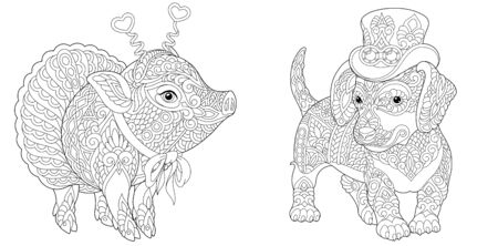 Coloring pages. Hipster animals. Dachshund dog and cute pig in ballet skirt. Line art design for adult colouring book with doodle and elements. Vector illustration. Stock Illustratie