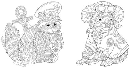 Coloring pages. Raccoon ship captain. Koala bear airplane pilot. Line art design for adult colouring book with doodle and elements. Vector illustration. Stock Illustratie