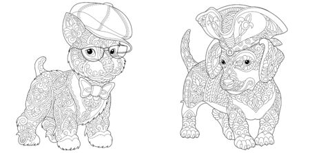 Coloring pages. Cute hipster dogs in funny hats and accessories. Line art design for adult colouring book with doodle and elements. Vector illustration. Stock Illustratie