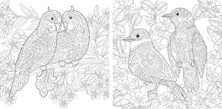 Coloring pages. Couple of lovely birds in spring flower garden. Line art design for adult colouring book with doodle and elements. Vector illustration. Stock Illustratie