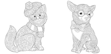 Coloring pages. Cat and Chihuahua dog in funny accessories. Line art design for adult colouring book with doodle and elements. Vector illustration.