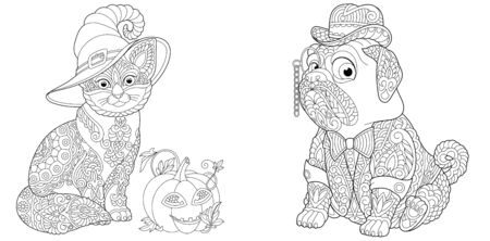 Coloring pages. Cute cat with Halloween pumpkin. Elegant pug dog in tuxedo and bowler hat. Line art design for adult colouring book with doodle and elements. Vector illustration.
