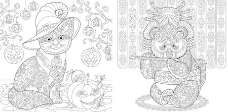 Coloring pages. Cat among Halloween pumpkin decor. Panda geisha playing flute. Line art design for adult colouring book with doodle and elements. Vector illustration. Stock Illustratie