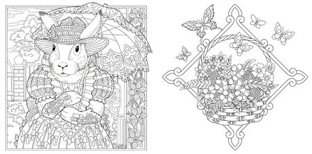 Coloring pages. Bunny girl in spring flower garden with lace umbrella. Froral basket. Line art design for adult colouring book with doodle and elements. Vector illustration.
