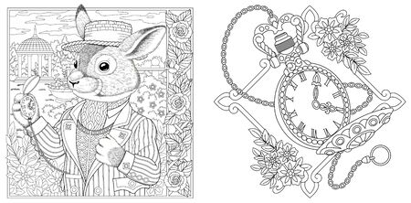 Coloring pages. Rabbit man with vintage clock on chain. Line art design for adult colouring book with doodle and elements. Vector illustration.