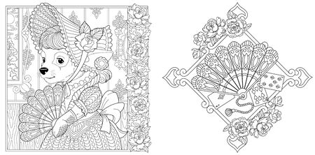 Coloring pages. Chihuahua dog girl in vintage dress. Paper fan with peony flowers. Line art design for adult colouring book with doodle and elements. Vector illustration.