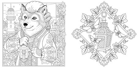 Coloring pages. Wolf seaman with lantern and lighthouse on the background. Line art design for adult colouring book with doodle and elements. Vector illustration. Stock Illustratie