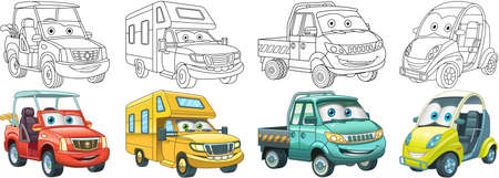 Coloring pages. Golf and micro cars, recreational vehicle, van. Cartoon clipart set for activity coloring book, t shirt print, icon, logo, label, patch or sticker. Vector illustration.