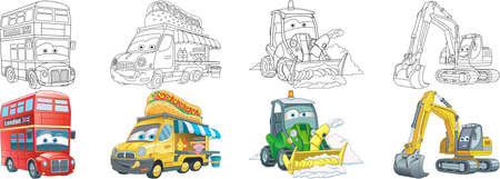 Coloring pages. London bus, food truck, tractors. Cartoon clipart set for activity coloring book, t shirt print, icon, logo, label, patch or sticker. Vector illustration.