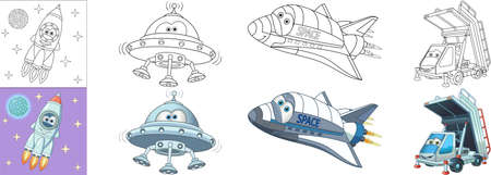 Coloring pages. Space flying transport. Cartoon clipart set for activity coloring book, t shirt print, icon, logo, label, patch or sticker. Vector illustration.