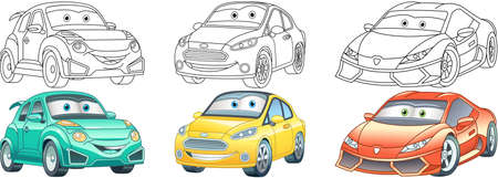 Coloring pages. Cars collection. Cartoon clipart set for activity coloring book, t shirt print, icon, logo, label, patch or sticker. Vector illustration.