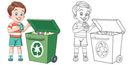 Coloring page with boy sorting garbage. Line art drawing for kids activity coloring book. Colorful clip art. Vector illustration. Vektorgrafik