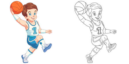 Coloring page with boy playing basketball. Line art drawing for kids activity coloring book. Colorful clip art. Vector illustration.