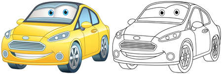 Coloring page with cars. Line art drawing for kids activity coloring book. Colorful clip art. Vector illustration.
