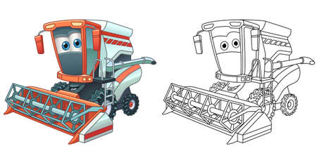 Coloring page with combine harvester. Line art drawing for kids activity coloring book. Colorful clip art. Vector illustration.