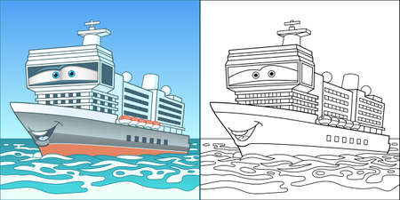 Coloring page with cargo ship. Line art drawing for kids activity coloring book. Colorful clip art. Vector illustration. 向量圖像