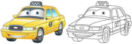 Coloring page with taxi car. Line art drawing for kids activity coloring book. Colorful clip art. Vector illustration.