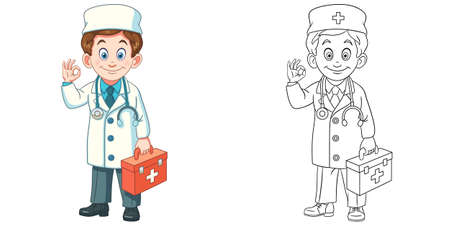 Coloring page with doctor. Line art drawing for kids activity coloring book. Colorful clip art. Vector illustration.