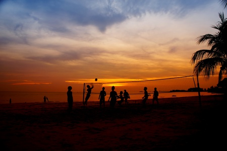 volleyball game player at silhouette  photo