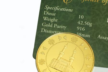 specification: 10 dinar with specification on white background