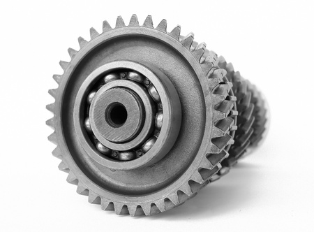 spare parts: Mechanical gear on isolated white background