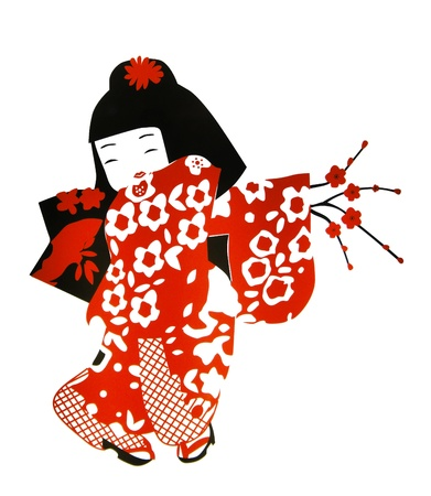 japanese kimono: geisha cartoon wall paint isolated white background