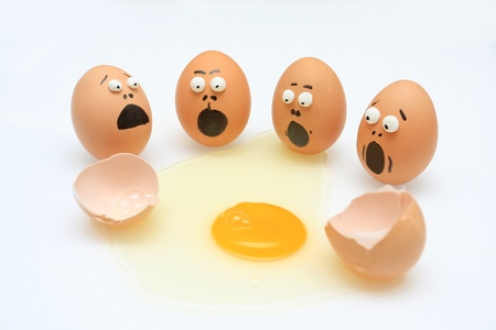 oops: egg break and others shocked Stock Photo