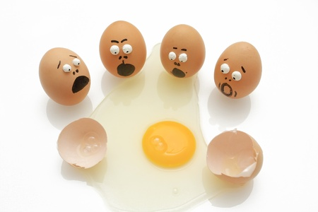 oops: group of eggs was surprised when his breaking Stock Photo