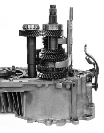 gearbox: machine gearbox on black and white