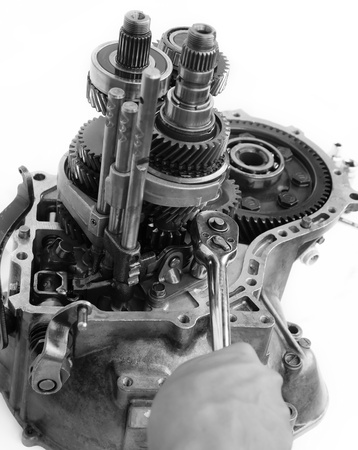 spare parts: gearbox overhaul is being done       Stock Photo
