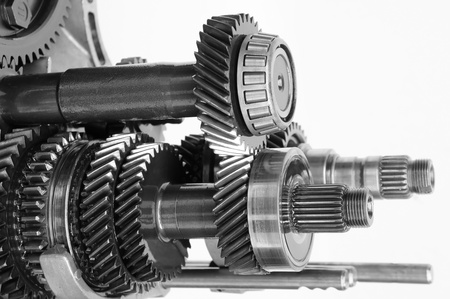 gearbox: car gearbox on isolated white background                Stock Photo
