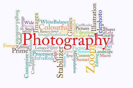 telephoto: photography text cloud in white background