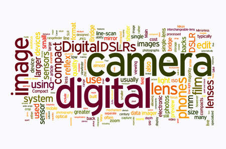 digital slr: digital camera text clouds on white background Stock Photo