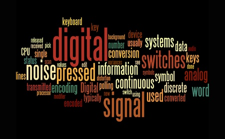 distorted: digital word text clouds on black background Stock Photo